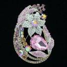 """Silver Tone Rhinestone Crystals Pink Leaf Flower Brooch Broach Pin 3.3"""" 6020"""