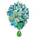 "Gold Tone Rhinestone Crystals Green Flower Dangle Brooch Broach Pin 3.9"" 6022"