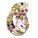 """Rhinestone Crystals Multicolor Leaf Flower Brooch Broach Pin 3.3"""" 6020"""