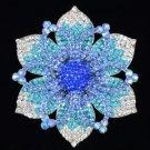 """Beautiful Blue Flower Brooch Broach Pin 4.1"""" W/ Rhinestone Crystals 3487c9"""
