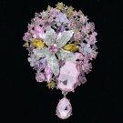 "Gold Tone Rhinestone Crystals Pink Flower Dangle Brooch Broach Pin 3.9"" 6022"