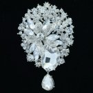 "Rhinestone Crystals Clear Flower Dangle Brooch Broach Pin 3.9"" 6022"