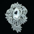"Bridal Flower Brooch Broach Pin 3.0"" W/ Clear Rhinestone Crystals Wedding 6039"