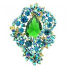 "Vintage Style Flower Brooch Broach Pin 3.0"" W/ Blue Rhinestone Crystals 6039"