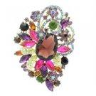 """Chic Flower Brooch Pin 3.5"""" W/ Purple Rhinestone Crystals  6075"""
