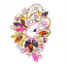 "Chic Multi-Colored Flower Brooch Pin 3.5"" Rhinestone Crystals  6075"