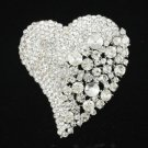 Hugue Clear Heart Flower Brooch Pin Rhinestone Crystals For Wedding 4617