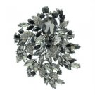 """Gorgeous Black Flower Brooch Broach Pin 4.1"""" W/ Teardrop Rhinestone Crystals"""