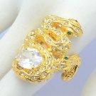 Gold Tone Clear Swarovski Crystals Zircon 2 Snake Ring Size USA:8#,UK: P 1/2