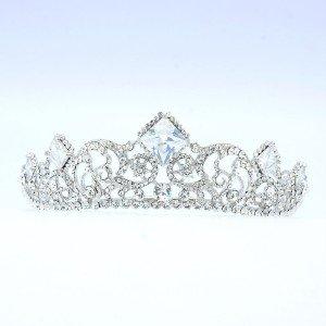 Wedding Bridal Flower Tiara Crown W/ Clear Swarovski Crystals 257RJK