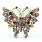 Vintage Style Cute Butterfly Brooch Pin W/ Purple Rhinestone Crystals 4895