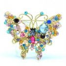 Vintage Style Cute Multicolor Butterfly Brooch Pin W/ Rhinestone Crystals 4895