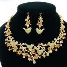 H-Quality Chic Noble Four Bird Necklace Earring Set W/ Brown Swarovski Crystals