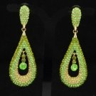 Trendy Drop Green Dangle Pierced Earring W/ Rhinestone Crystals