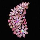 """Gold Tone Flower Brooch Broach Pin 2.9"""" W/ Pink Rhinestone Crystals OFA2078"""