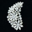 "Wedding Chic Clear Flower Brooch Broach Pin 2.9"" W/ Rhinestone Crystals OFA2078"