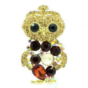 "Vintage Style Brown Owl Pendant Brooch Broach 2.4"" W/ Rhinestone Crystals 6053"