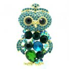 "Vintage Style Green Owl Pendant Brooch Broach 2.4"" W/ Rhinestone Crystals 6053"