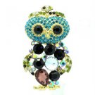 "Vintage Style Blue Owl Pendant Brooch Broach 2.4"" W/ Rhinestone Crystals 6053"