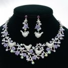 H-Quality Chic Noble Four Bird Necklace Earring Set W/ Purple Swarovski Crystals