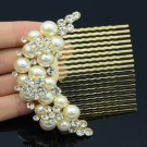 Wedding Bridal Imitate Pearl Flower Hair Comb w/ Clear Swarovski Crystal 552102
