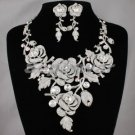 High Quality Swarovski Crystals Clear Bud Rose Flower Necklace Earring Set