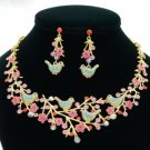 H-Quality Chic Noble Four Bird Necklace Earring Set W/ Pink Swarovski Crystals