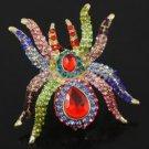 Swarovski Crystals Animal Multicolor Spider Cocktail Ring Adjustable Halloween