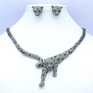Attractive Animal Leopard Necklace Earring Set W/ Black Swarovski Crystals