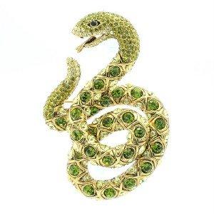 "Swarovski Crystals High Quality Green Snake Brooch Broach Pin 3.1"" SBA4439-2"