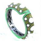 Hi-Quality Enamel Bracelet Bangle Cuff W/ Green Swarovski Crystals