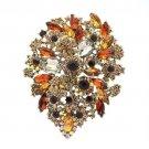 """Vintage Flower Brooch Broach Pin 3.9"""" W/ Brown Rhinestone Crystals"""