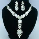 Swarovski Crystals High Quality Pretty Zircon Flower Necklace Earring Set