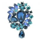 "Flower Brooch Broach Pin 3.1"" Dark Blue Rhinestone Crystals 4949"