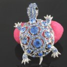 Rhinestone Crystals Blue Turtle Tortoise Brooch Broach Pin 3631