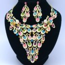 Multicolor Peafowl Peacock Necklace Earring Jewlery Set Swarovski Crystals 5509