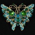Vintage Style Green Butterfly Brooch W/ Rhinestone Crystals 4895