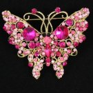 Vintage Style Pink Butterfly Brooch Pin W/ Rhinestone Crystals 4895