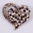 "Vintage Style Purple Heart Brooch Broach Pin 2.6"" W/ Rhinestone Crystals 4817"