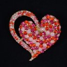 """Vintage Style Heart Brooch Broach Pin 2.6"""" W/ Red Rhinestone Crystals 4817"""