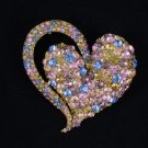 "Vintage Style Multicolor Heart Brooch Broach Pin 2.6"" W/ Rhinestone Crystal 4817"