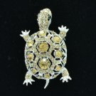 Rhinestone Crystals Animal Topaz Turtle Tortoise Brooch Broach Pin 3631