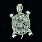 Rhinestone Crystals Animal Gray Turtle Tortoise Brooch Broach Pin 3631