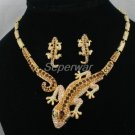 Swarovski Crystals Brown Gecko Lizard Necklace Earring Set  High Quality