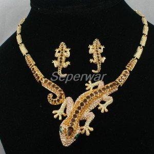 Swarovski Crystals Brown Gecko Lizard Necklace Earring Set  High Quality