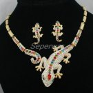 H-Quality Swarovski Crystals Gecko Lizard Necklace Earring Set Multicolor