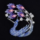 "3.0"" Hi-Quality Peafowl Peacock Brooch Broach Pin W/ Blue Swarovski Crystals"