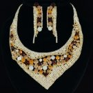 Trendy Undee Flower Necklace Earring Set W/ Ochre Rhinestone Crystals