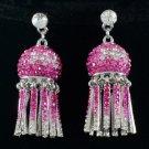 Popular Pretty Pink Lantern Pierced Earring w/ Rhinestone Crystals