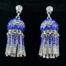New Pretty Blue Lantern Pierced Earring w/ Rhinestone Crystals